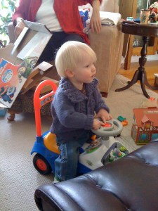 E at grandparents' house, new Buzz Lightyear car