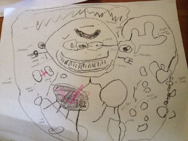 three-year-old's portrait of Mommy