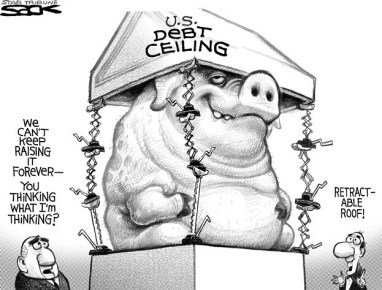 Pig Raising the Debt Ceiling Cartoon