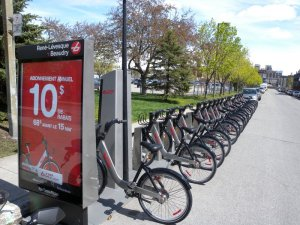 A Bixi bicycle sharing station in Montreal.