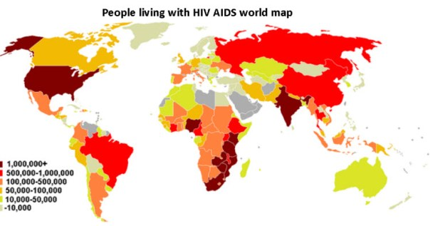 People living with HIV AIDS world map
