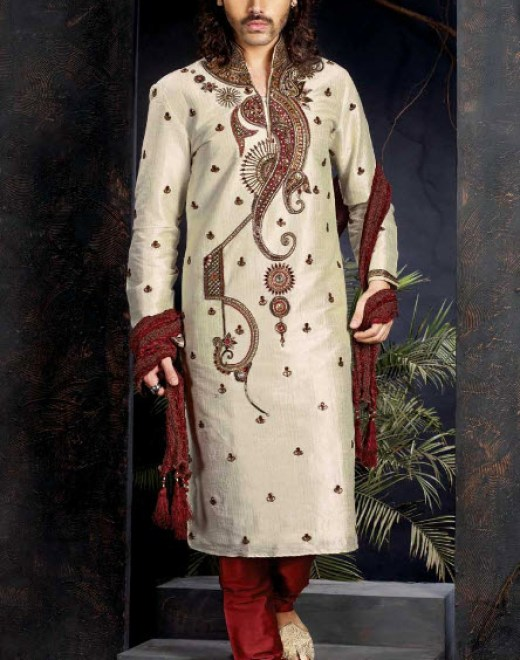 Indian designer groom-sherwani style in red white color