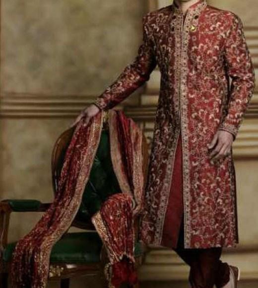 Latest Manishmalhotra groom sherwani red color design 2013