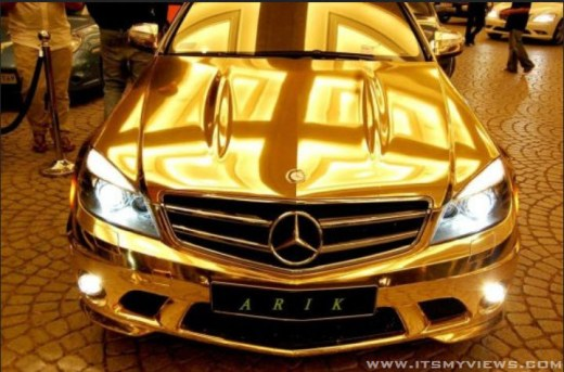 world most-expensive gold-plated color mercedes benz wallpaper 2013