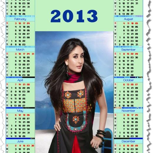 calendar2013-Bollywood Actress female Kareena Kapoor wallpaper