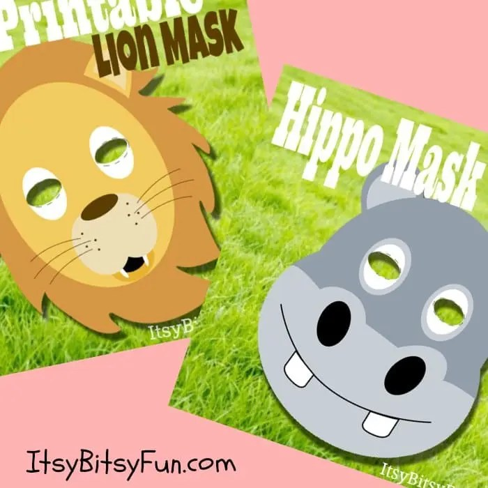 New Printable Animal Masks Added - Lion  Hippo - Itsy Bitsy Fun