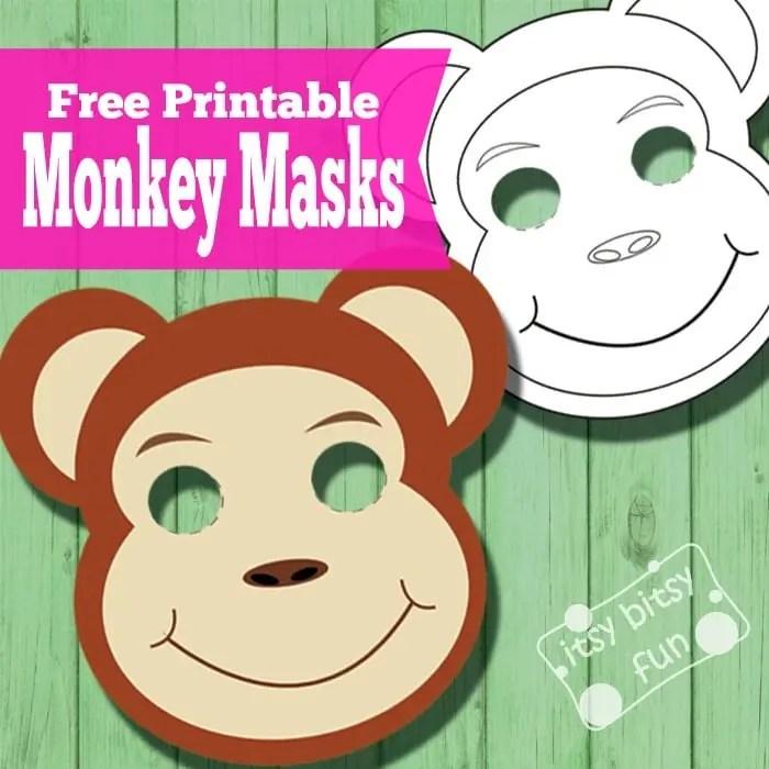 Printable Monkey Masks Templates (free) - Itsy Bitsy Fun
