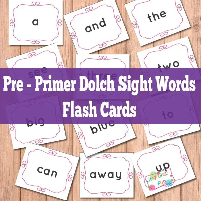 Pre Primer Sight Words Flash Cards - Itsy Bitsy Fun - dolch sight word flashcards