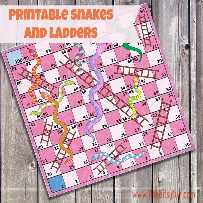 Free Printable Snakes and Ladders - Itsy Bitsy Fun