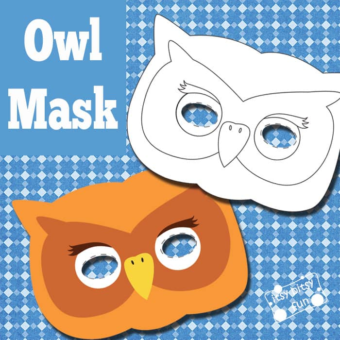 Owl Mask and Template to Color - Itsy Bitsy Fun