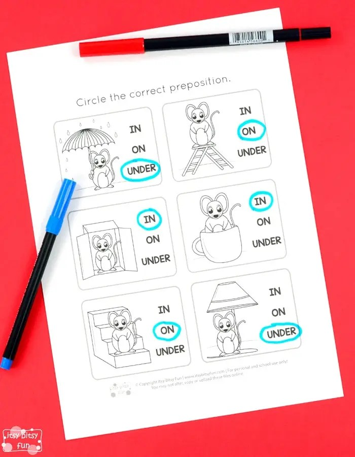 Circle Table Lamp Prepositions Worksheets - Itsy Bitsy Fun