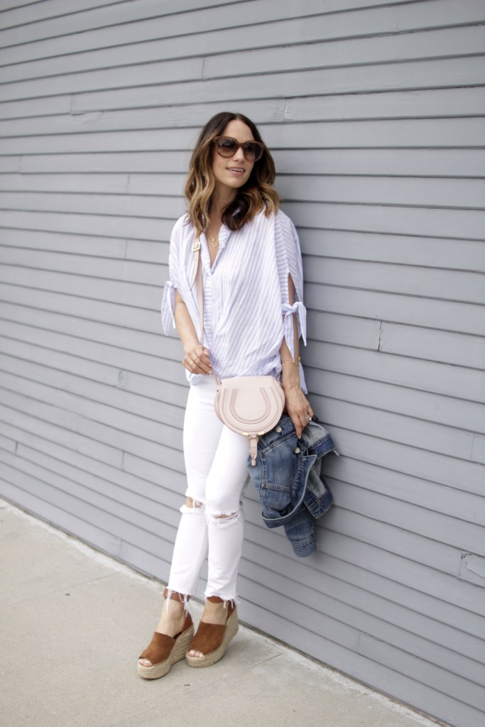 stripe top, distressed jeans, itsy bitsy indulgences