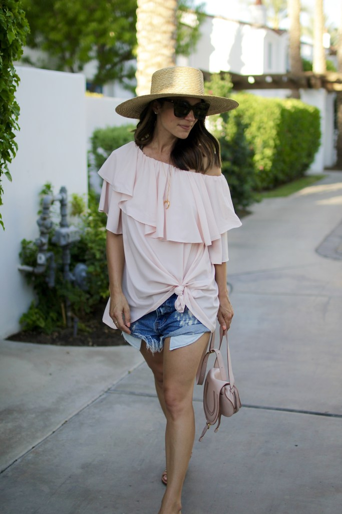blush off the shoulder top, itsy bitsy indulgences