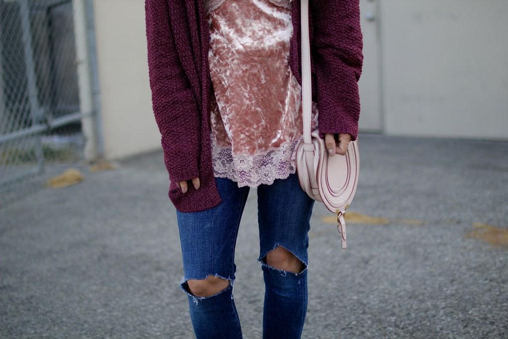 velvet + chunky cardigan, itsy bitsy indulgences