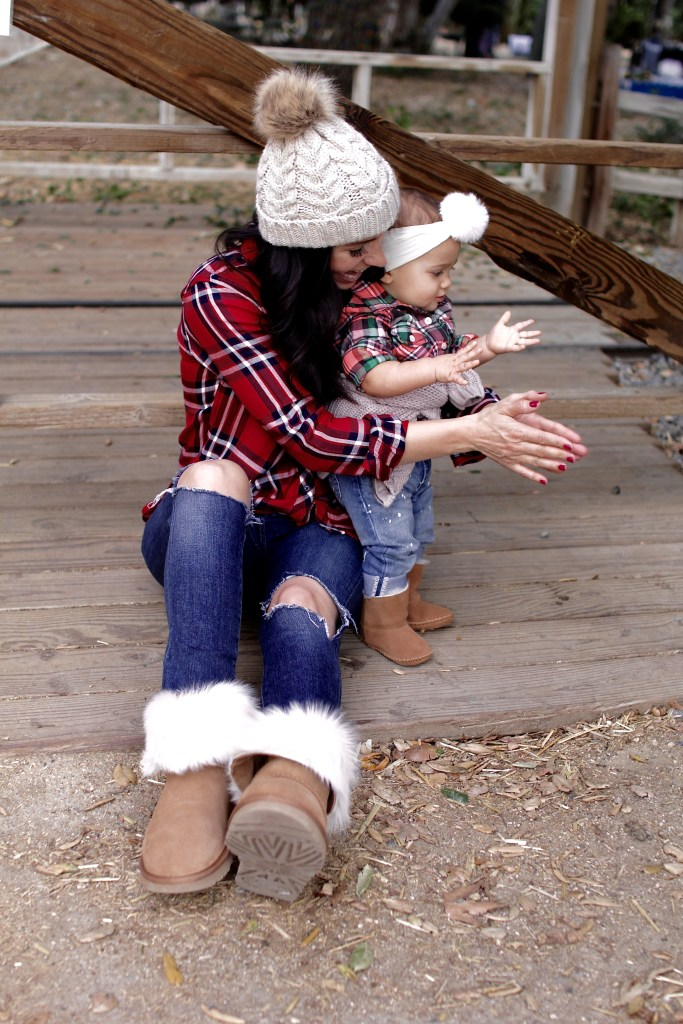 matching plaid mom and daughter, itsy bitsy indulgences