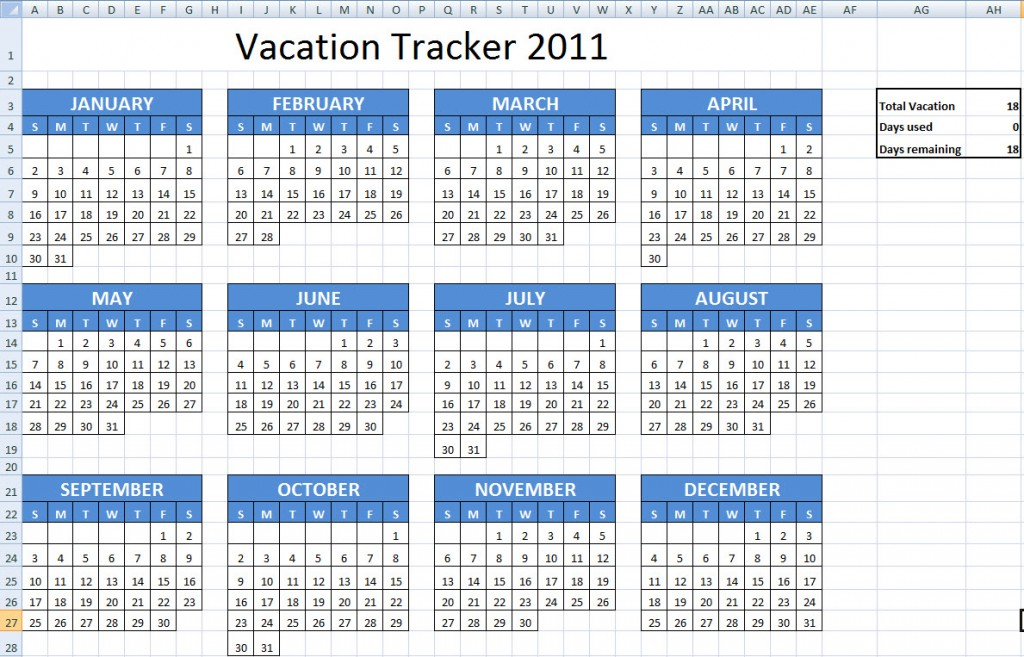 Vacation Schedule Template Employee Vacation Tracking Spreadsheet - vacation tracking template