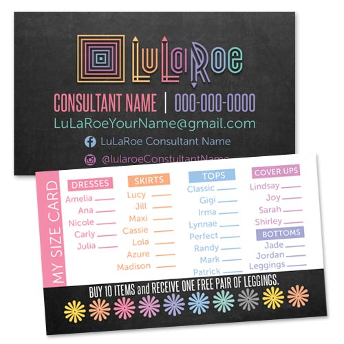 LuLaRoe Business Card / My Size Card / Punch Card \u2022 ITW Visions