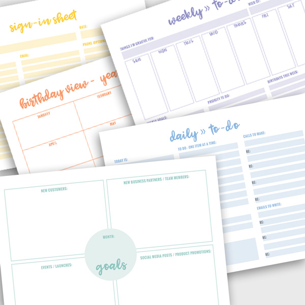 Direct Sales Business Planner Sheets - colored \u2022 ITW Visions