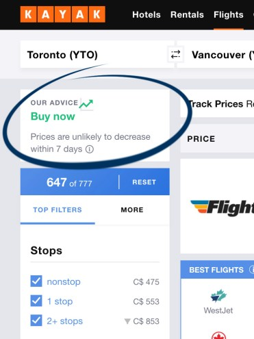 Kayak.com Screenshot - Tips and Tricks to Find Cheap Flights :: I've Been Bit! A Travel Blog
