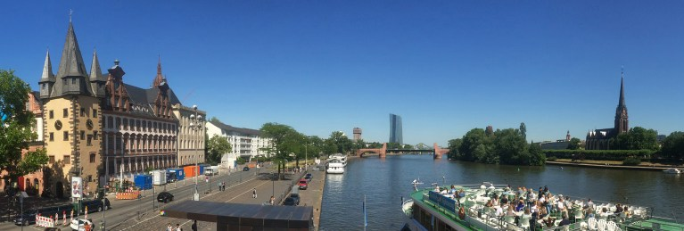 The view from one side of the Eisener Steg, on the opposite shore there's tons of great places for a drink!