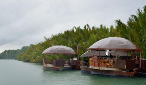 A shot of the floating restaurants as we waited to depart.