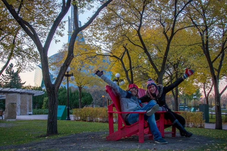 Parks Canada Red Chairs at The Forks in Winnipeg, Manitoba Road Trip - 7 Days of Canadian Prairie Adventure :: I've Been Bit A Travel Blog