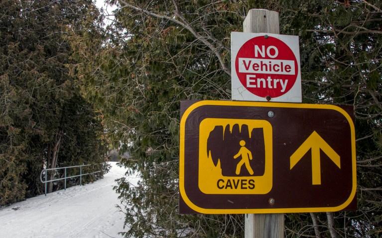 Sign for Rockwood Conservation Area Caves :: I've Been Bit! A Travel Blog