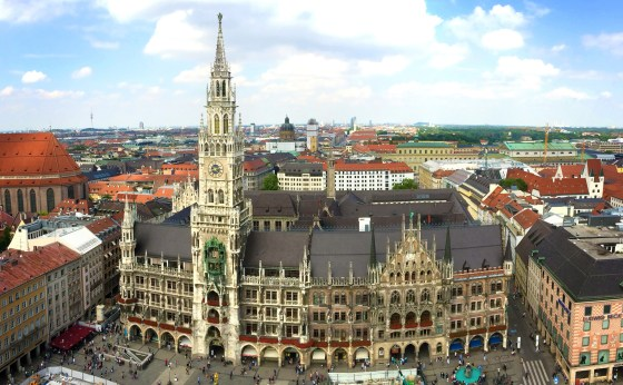 Taken from the top of the St Peter Kirche, you can see the Neues Rathaus' beautiful Gothic Revival style.