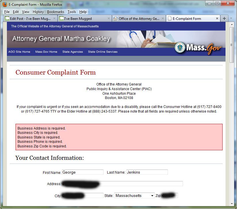 I\u0027ve Been Mugged Blog Filing an Online Complaint About a Credit