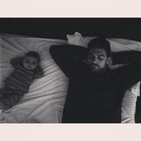 Mark Philippoussis lazing about with his son