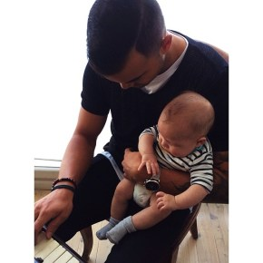 Guy Sebastian with her son Archer