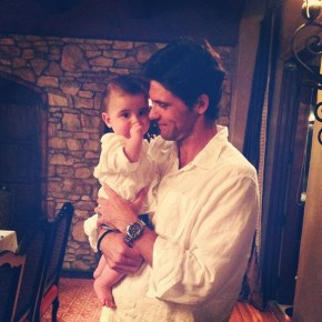 Mark Philippoussis with his son Nicholas