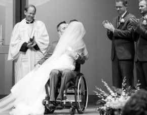 Paralysis wasn't going to stop this man from sharing his first dance with his bride.