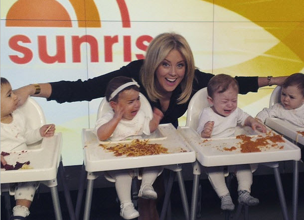 Sunrise host Sam Armytage just learned why you don't work with babies.