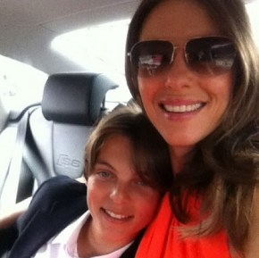 Liz Hurley with her son Damian