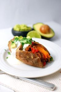 Mexican Mince-Stuffed Sweet Potatoes