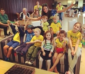 Alessandra Ambrosio and her family supporting Brasil in the World Cup