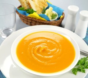 Pumpkin Soup with Cheese Toasts