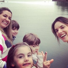 Alessandra Ambrosio with her family