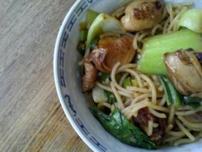 Quail and noodle stir fry