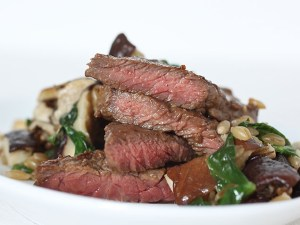 Steak, Mushrooms and Greens with Barley