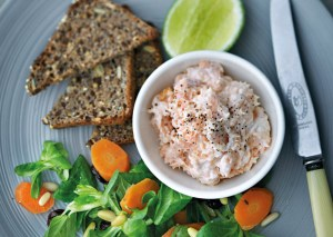 Smoked trout pâté with toasted rye bread & carrot salad