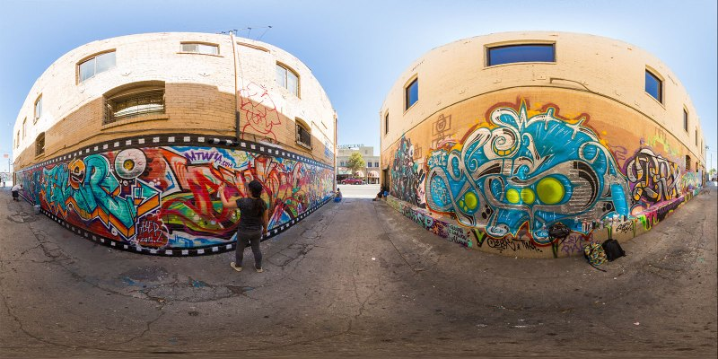 Graffiti murals in Highland Park, Los Angeles, California. Photo by Jim Newberry.