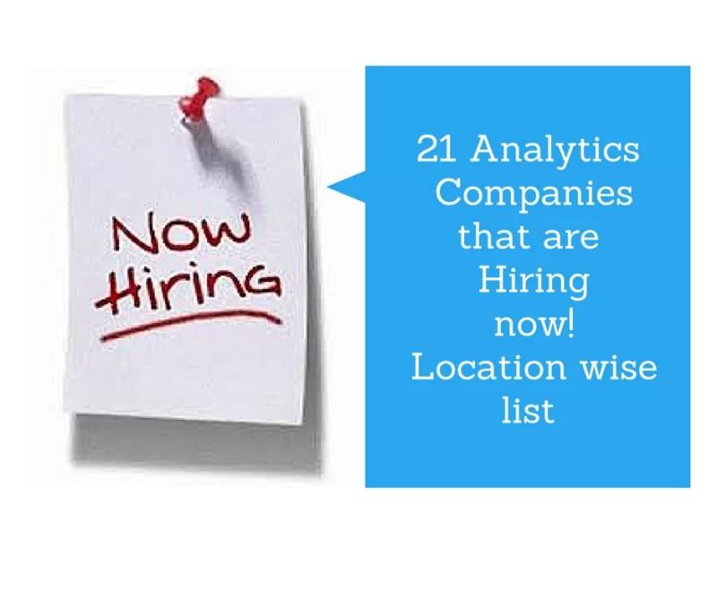 Analytics companies hiring