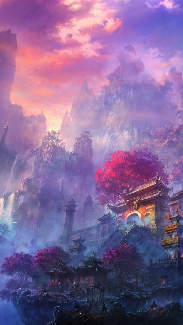 Hd Wallpapers Brands Logos Exquisite Watercolors Mist Mountain Temple Iphone X 8 7