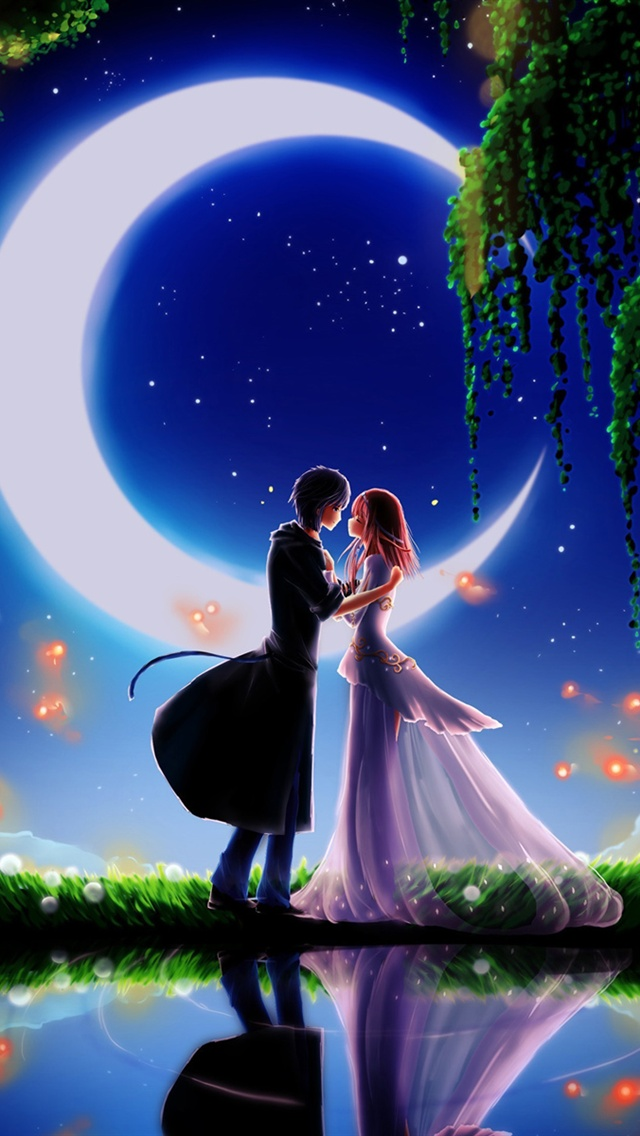 Cute Stitch Phone Wallpaper Moonlight Dating Boy And Girl Iphone X 8 7 6 5 4 3gs