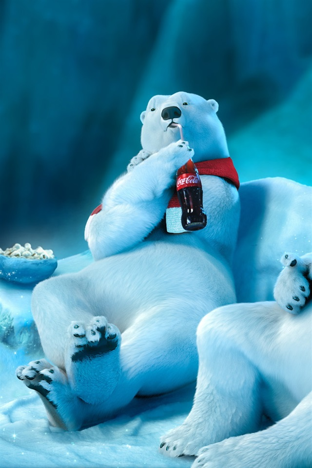 3d Wallpaper For Iphone Se Polar Bear Drinking Coca Cola Iphone X 8 7 6 5 4 3gs