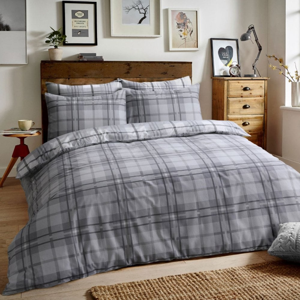 Cotton Quilt Covers King Size Brushed Cotton Reversible Flannel Duvet Quilt Cover Tartan Check Grey King Size 289256