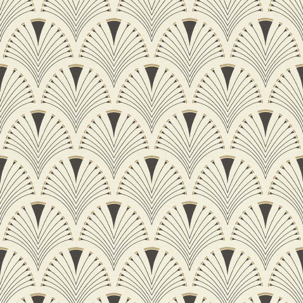 Metallic Gold Wallpaper Rasch Art Deco Fan Black Metallic Gold Non Woven Abstract Peacock Wallpaper 433210