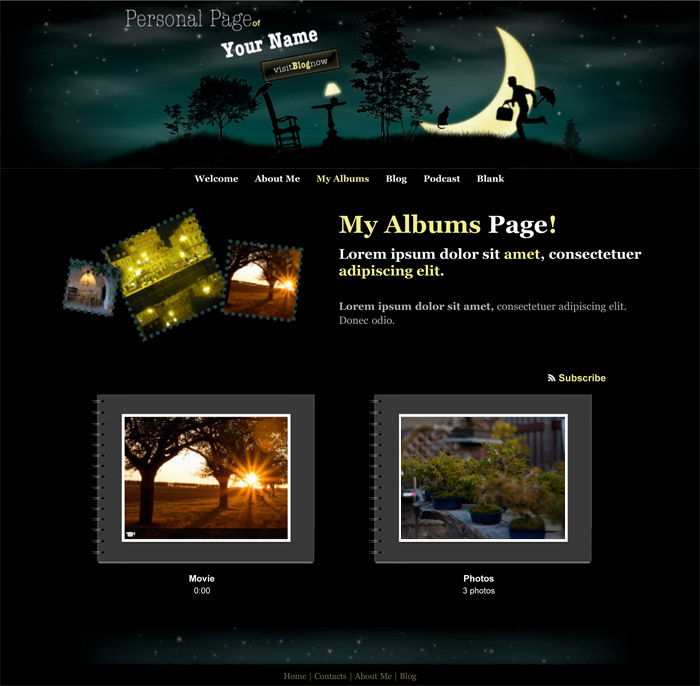 iWeb Personal Page Theme in iWeb Professional Blog Category - podcast website template